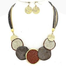 7 GLITTERY GOLD SILVER COPPER METAL ROUND DISC MULTI CHAINS NECKLACE SET
