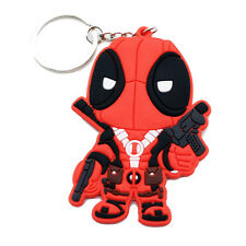 New Marvel Comics Deadpool Figure Soft Rubber Keychain Keyring Double Side