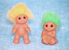 DAM Norfin 2 Baby Troll Doll Lot Green Hair Sitting Orange Standing Vintage 1985