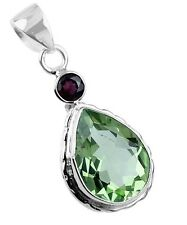 GREEN AMETHYST & RED GARNET GEMSTONE 925 STERLING SILVER NECKLACE PENDANT 1 5/8""