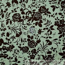 BonEful Fabric FQ Cotton Quilt Green Brown Flower Rose Victorian Spring Toile Sm