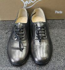 NIB Christian Louboutin FRED FLAT FACETTE LAMINATO METAL BROGUE OXFORD SHOES 37