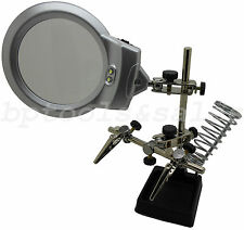 Jumbo Helping Hands w/ LED Lights Magnifying Glass Light Vise Clamps Hobby Tool