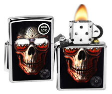 Zippo 29108 Anne Stokes Skull with Sunglasses High Polish Chrome Lighter New