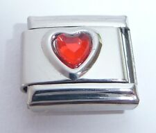 RED HEART GEM Italian Charm Love July Birthstone fits Classic Starter Bracelets