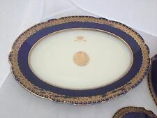 "LARGE PLATTER PORCELAIN CHINA GOLD COBALT BLUE LIMOGES M. REDON SEVRES 18"" X 9"""