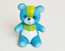 """Vintage 70s 80s Blue & Green Teddy Bear Squeaky Toy 5"""""""