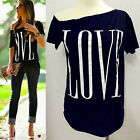 Summer Women Sexy Fashion Loose Short Sleeve Letter Tops T-Shirt Love Blouse