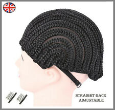 Adjustable Cornrow Braided Wig Cap Black For Making Wigs With Clips & Straps UK