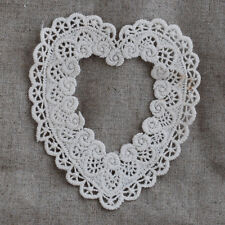 4 Vintage Style Crochet Cotton Lace APPLIQUE Motif Trim Rose Heart Antique White