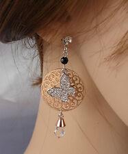 ELEGANTE Orecchini argento- oro farfalla strass ,cristalli ,donna,idea regalo