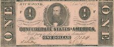 1862 $1 CONFEDERATE STATES CURRENCY ~ CLEMENT CLAY ~ CHOICE ABOUT UNCIRCULATED