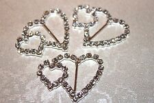 2 Diamante Double Heart Buckles / Ribbon Sliders