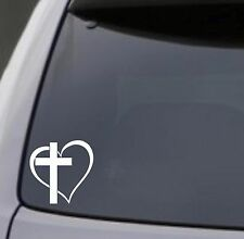 CROSS HEART Vinyl Decal Sticker Car Window Wall Bumper Jesus God Heart Love