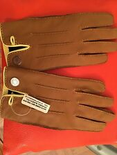 NWT NEW Hermes Gants Femme Nervures Ageneau Glace DS Pall Leather Gloves Moka