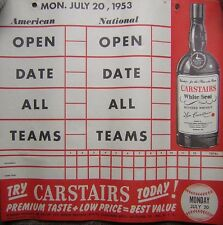 "July 20, 1953 Carstairs Blended Whiskey Baseball Calendar 11x11"" Score Page Ad"