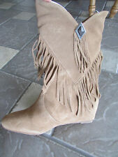 NEW OBSESSION HOPEY TAN SUEDE FRINGE WESTERN BOOTS WOMENS 6 HIDDEN WEDGE