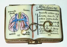 LIMOGES BOX - MEDICAL TEXTBOOK & METAL STETHOSCOP​E - DOCTORS & NURSES - SYRINGE