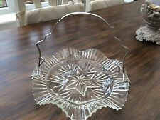 VINTAGE CAKE Plate STAND Serving Table Pressed Glass Metal Handle Tea Shop