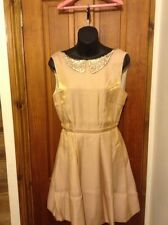 BNWT DESIGNER KELLY EWING Gold Shimmer Skater Style Dress UK 10 CHRISTMAS