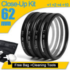 62mm Macro Close Up +1+2 +4+10 Lens Filter Kit For Sony Tamron SLR +Cloth +Pouch