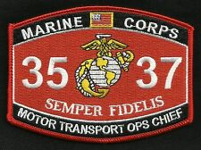 "USMC ""MOTOR TRANSPORT OPS CHIEF"" 3537 MOS MILITARY PATCH SEMPER FIDELIS"