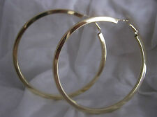 LARGE  HOOP EARRINGS  GOLD PLATED  SIZE 75mm  SNAP CLOSE