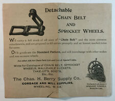 Vintage Ad & Price List, Chas. H. Berry Supply Co. Chain Belts & Sprocket Wheels