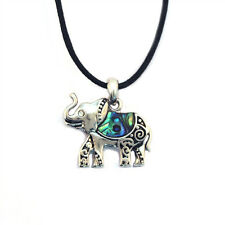 "Elephant Charm Pendant Fashionable Necklace - Abalone Paua Shell - 18"" Chain"