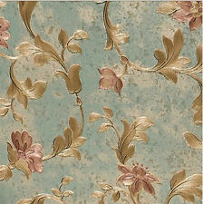 Victorian Metallic Gold On Navy Green Scroll Leaf Floral Trail Wallpaper