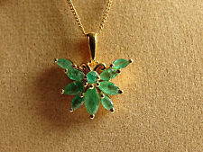 "Genuine Zambian Emerald Butterfly 14K Y Gold/925 18"" Pendant Necklace"