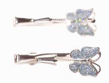Playful Light Blue Glittery Butterfly Spring & Chrome Beak Hair Clip(Zx170)