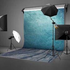 KIT FONDALE STUDIO FOTOGRAFICO SFONDO BLU SCENARIO LEGNO MURO 1.5*2.1M