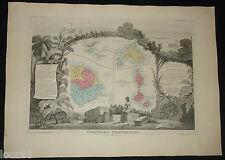 grande carte Guyane St Pierre & Miquelon... 1861 Atlas Levasseur gravure couleur