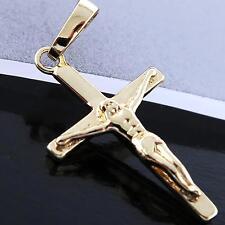 AN764 GENUINE REAL 18CT YELLOW G/F GOLD CLASSIC JESUS CRUSIFIX CROSS PENDANT