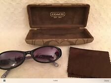 Womens Coach Kristy Sunglasses S603 Black Purple Lined Coach Case Retro