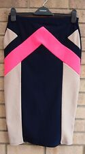 NAVY BLUE BLOCK ABSTRACT BEIGE PINK BANDAGE TUBE BODYCON PENCIL SKIRT 12 M