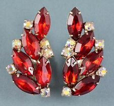 Vintage Earrings JULIANA Large 1960s Red AB Crystal & Goldtone  Bridal Jewellery
