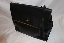 Isaac Mizrahi Live! Nolita Pebble Leather Zipper Satchel Handbag Purse - Black