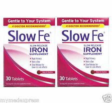 2 PACK Slow Fe Slow Release Iron Tablets 30 ct (886790019305)