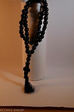 Chotki, Rope, Komboskini, Rosewood, Garnet Stone, with Cross 50 Prayer Black
