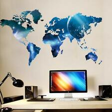 Art Beautiful Shining World Map Large Wall Sticker Decals Wallpaper Home Decor