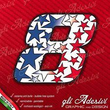 Adesivo Stickers NUMERO 8 moto auto cross gara STAR Blu & Rosso