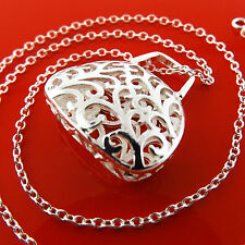 A952 GENUINE REAL 925 STERLING SILVER S/F ANTIQUE BAG PENDANT NECKLACE CHAIN