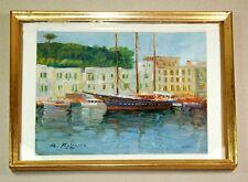 Italien Hafenszene Fischerdorf Segelschiff - Impressionismus signiert - Öl / LW