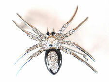 LOVELY SILVER PLATED,BLACK ENAMEL AND CRYSTAL SPIDER BROOCH