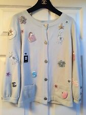 Chanel 08P MOST WANTED Light Blue CC Patches Brooches Jacket Cardigan FR38-FR36