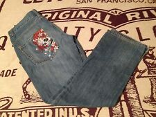 DISTRESSED ED HARDY COTTON BUTTON FLY SKULL JEANS SIZE 33X 32