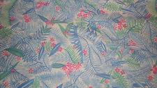 Knit fabric blue leaves green pink unique tropical foliage sewing material WOW