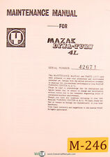 Mazak Dyna Turn 4L, Maintenance M4 & M5,Parts & Circuit Diagrams Manual  (1979)